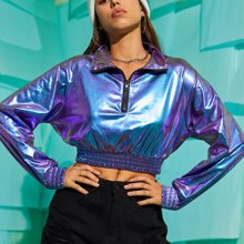 Holographic Half Zip Crop Sweatshirt