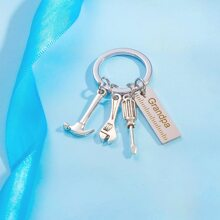 Letter Engraved Charm Keychain