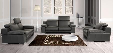 VGNTEVERGREENBLK Estro Evergreen Sofa Set with Adjustable Headrests  Contrast Stitching  Stainless Steel Legs and Full Italian Leather in Panarea