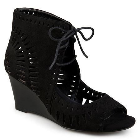 Journee Collection Womens Zola Pumps Wedge Heel, 7 1/2 Medium, Black