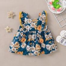 Kleinkind Maedchen Bluse mit Blumen Muster und Raffung