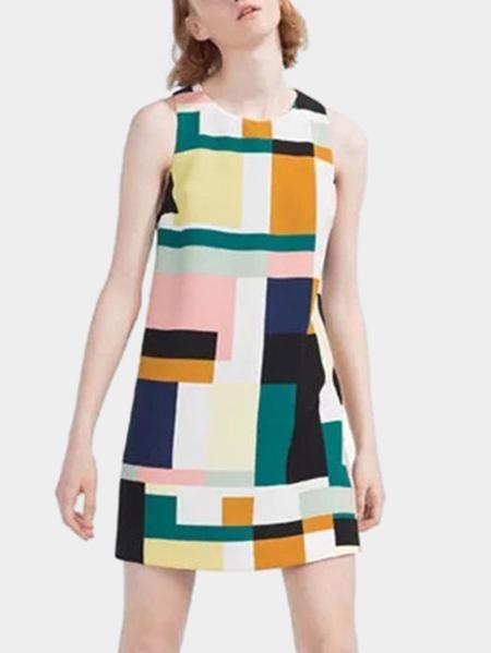 Yoins Multicolor Geo Print Round Neck Sleeveless Playsuit