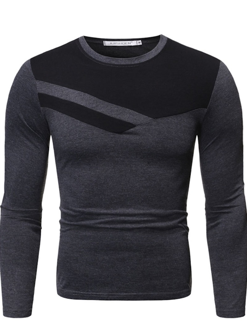 Ericdress Round Neck Casual Color Block Men's Slim Shirt