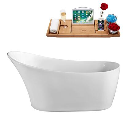 N821-IN-ORB 63 Soaking Freestanding Tub and Tray with Rubbed Oil Bronze Internal Drain   Feet and Glossy White
