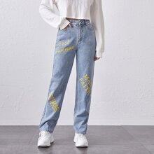 Jeans mit Buchstaben Grafik und geradem Beinschnitt