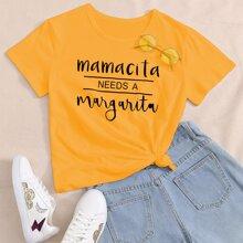 T-Shirt mit Buchstaben & Streifen Muster