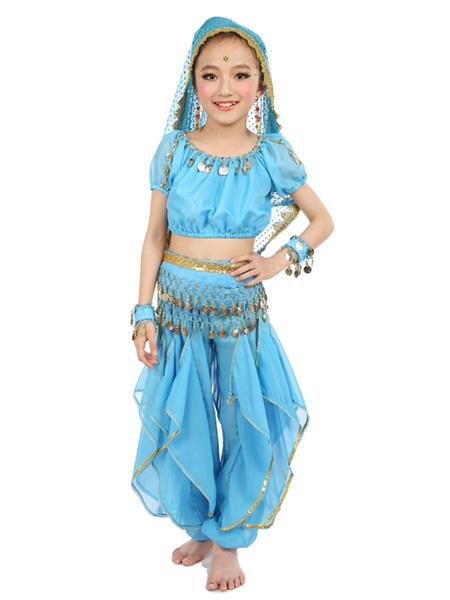 Milanoo Belly Dance Costume Kids Yellow Chiffon Bollywood Indian Dancing Costumes