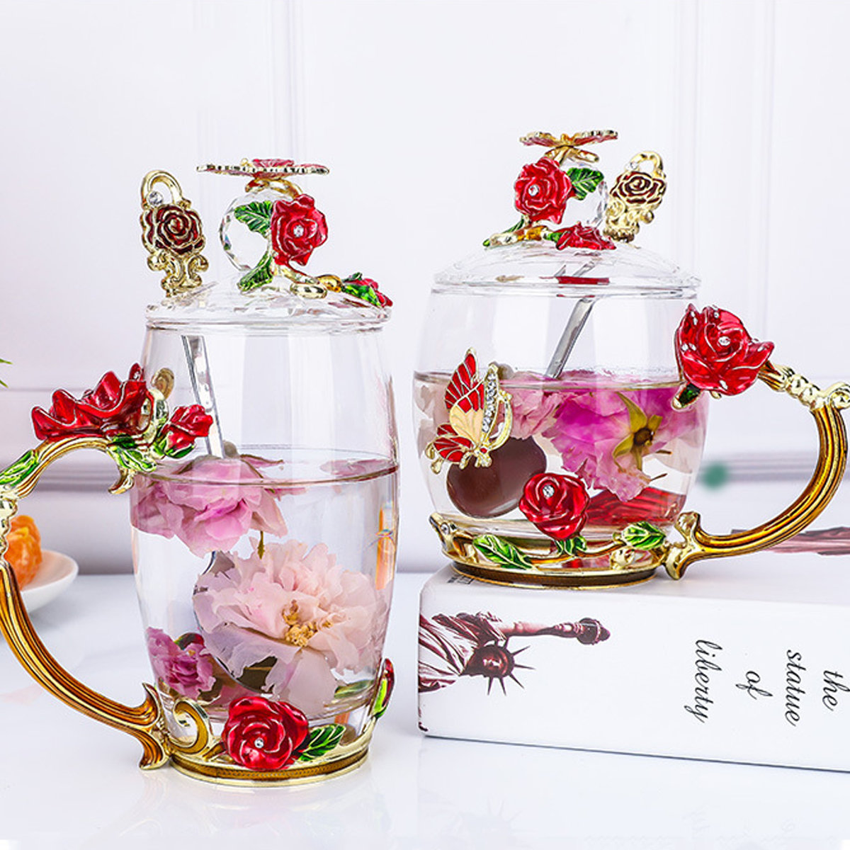 Crystal Glass Enamel Rose Flower Tea Cup Juice Coffee Mugs Festival Gift