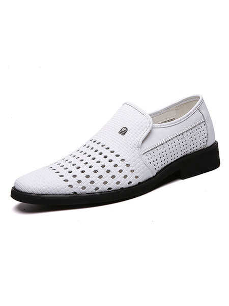 Milanoo Mens Loafers Shoes Slip-On Round Toe PU White Leather Shoes