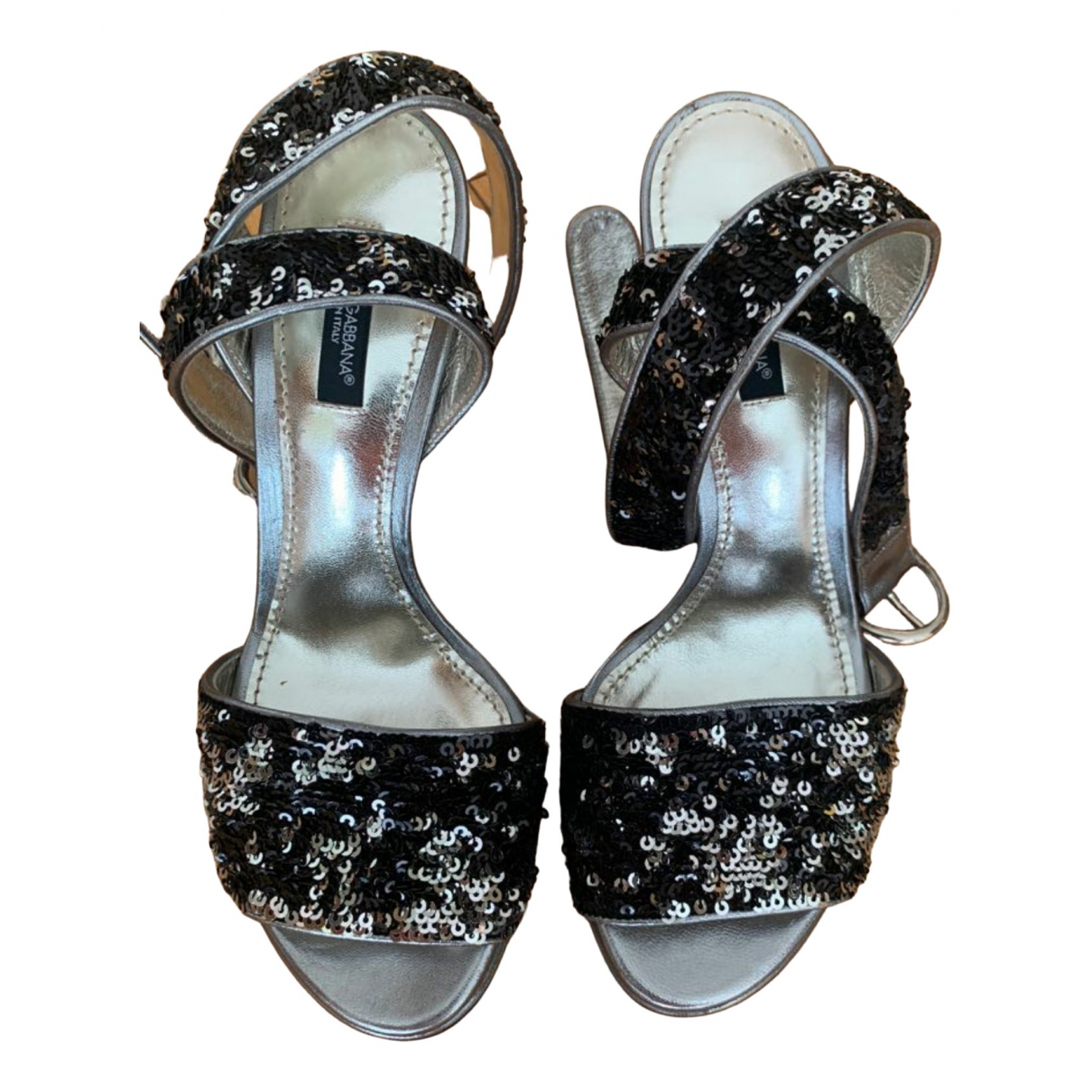 Dolce & Gabbana \N Sandalen in  Metallic Mit Pailletten