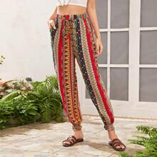 Drawstring Waist Tribal Print Tapered Pants