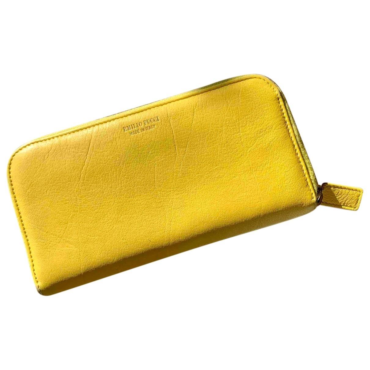 Emilio Pucci - Portefeuille   pour femme en cuir - jaune