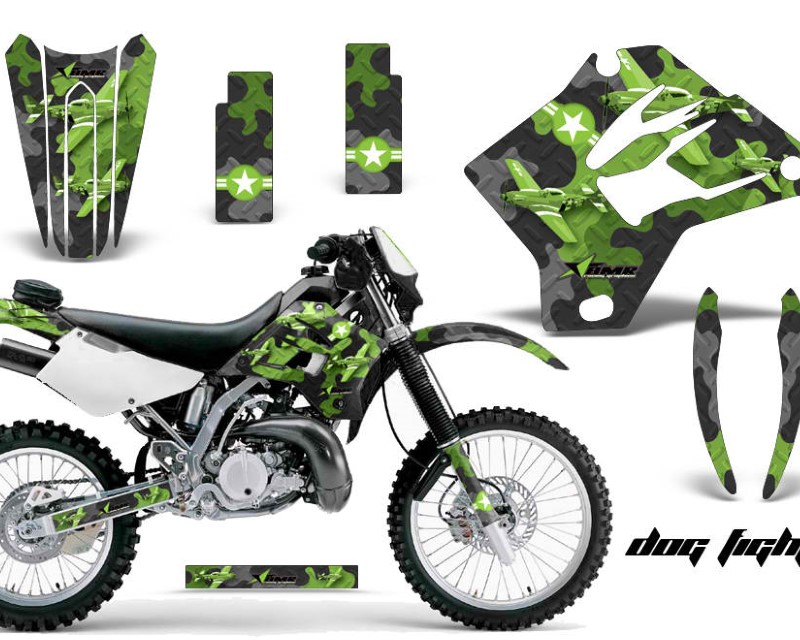 AMR Racing Dirt Bike Graphics Kit Decal Sticker Wrap For Kawasaki KDX200 1995-2006 DIAMOND FLAMES BLACK GREEN