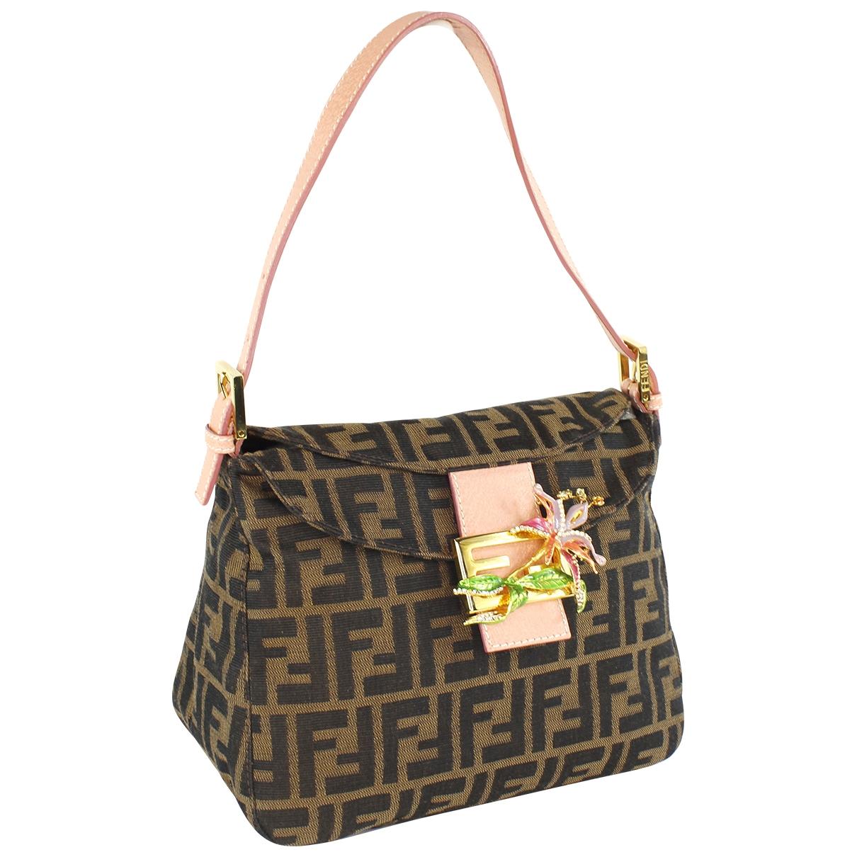 Fendi Mamma Baguette  Handtasche in  Braun Leinen