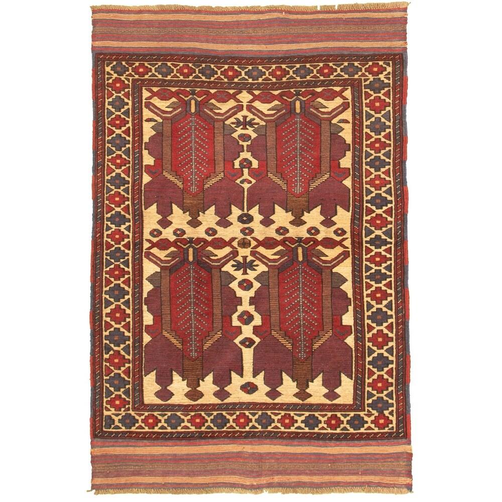ECARPETGALLERY Hand-knotted Tajik Caucasian Dark Red, Ivory Wool Rug - 4'0 x 6'1 (Dark Red/ Ivory - 4'0 x 6'1)