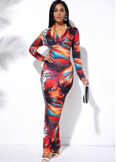 Cocktail Party Dress Multi Color Tie Dye Long Sleeve Maxi Dress - S
