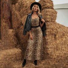 Cami Kleid mit Leopard Muster ohne Guertel