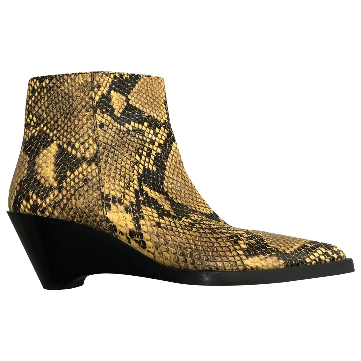 Acne Studios \N Yellow Python Ankle boots for Women 38 EU