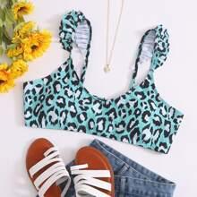 Top bikini con fruncido de leopardo