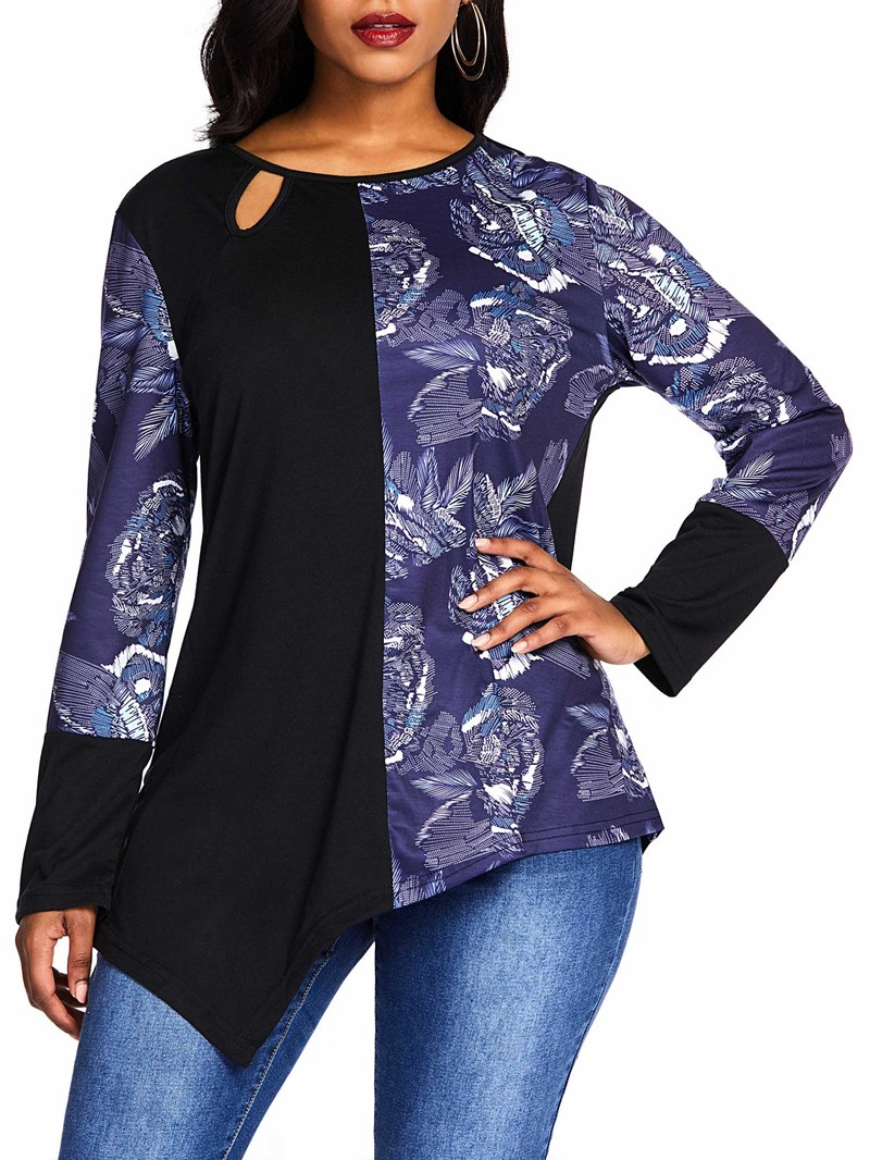 Ericdress Color Block Mid-Length Round Neck Slim T-Shirt