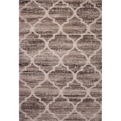 BM207819 90 X 63 Inches Fabric Power Loomed Rug with Quatrefoil Print  Brown and