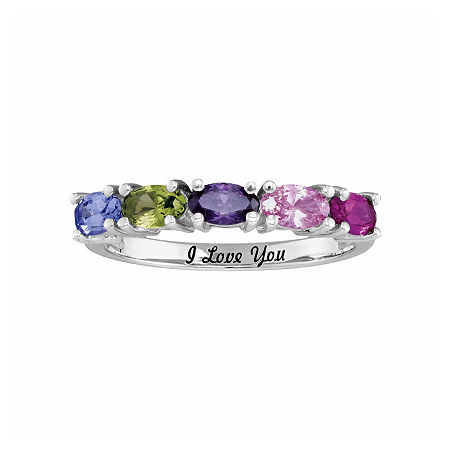 Personalized Simulated Birthstones Engravable Side Stone Ring, 7 , White