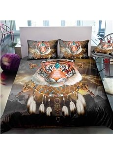 Indian Tiger And Dream Catcher Digital Printing Polyester 3D 3-Piece Bedding Sets/Duvet Covers