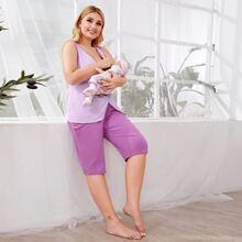 Schlafanzug Set mit Kontrast Bindung und V-Kragen vorn