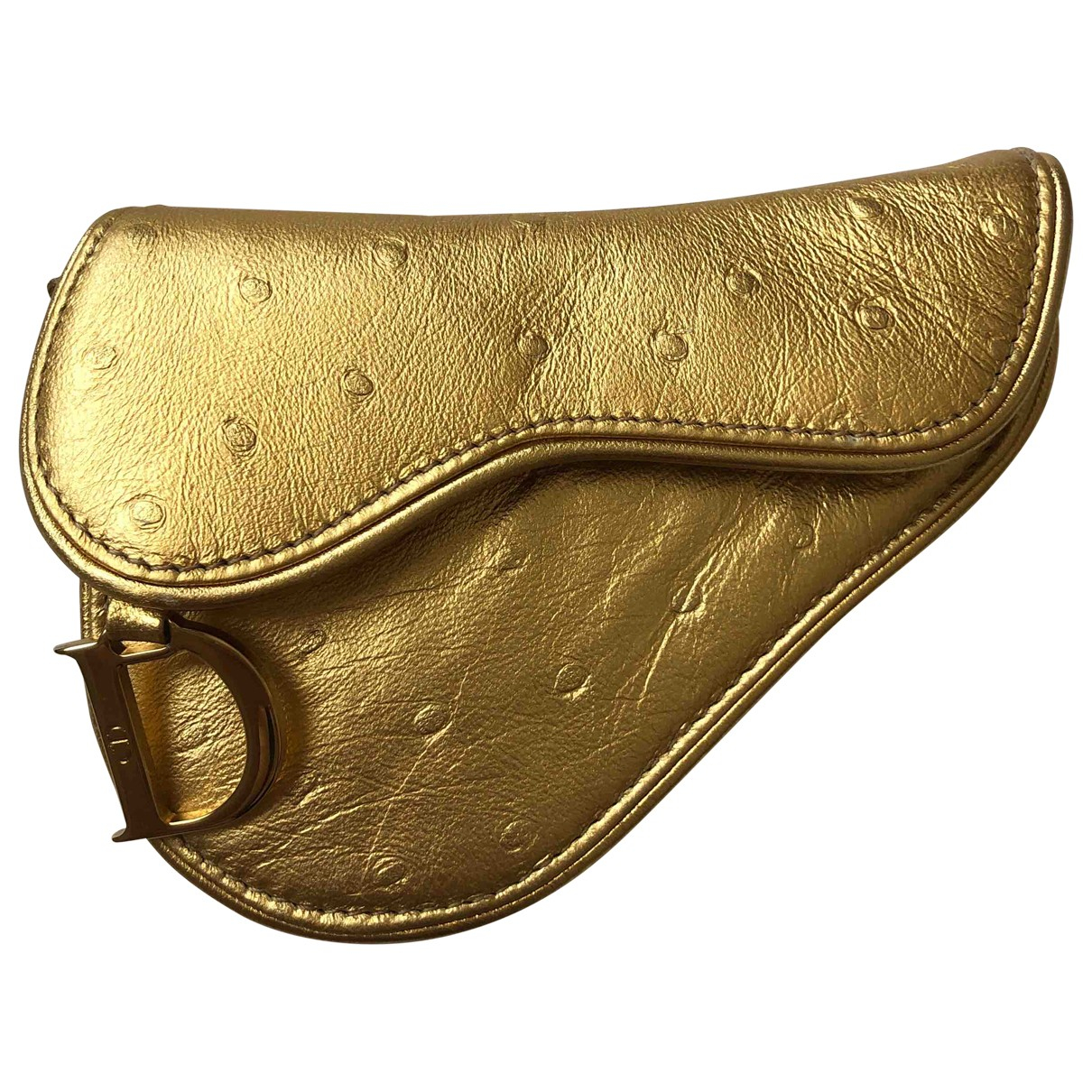Dior Saddle Gold Ostrich wallet for Women \N