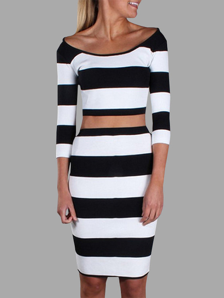 Yoins Stripe Pattern Round Neck 3/4 Length Sleeves Two Piece Outfits