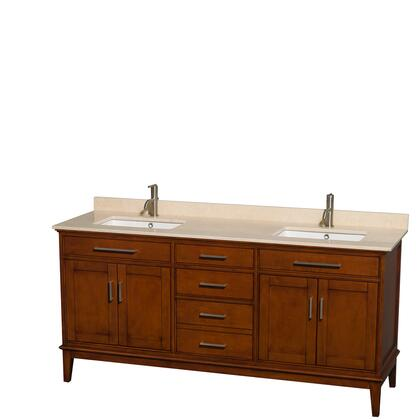 WCV161672DCLIVUNSMXX 72 in. Double Bathroom Vanity in Light Chestnut  Ivory Marble Countertop  Undermount Square Sinks  and No