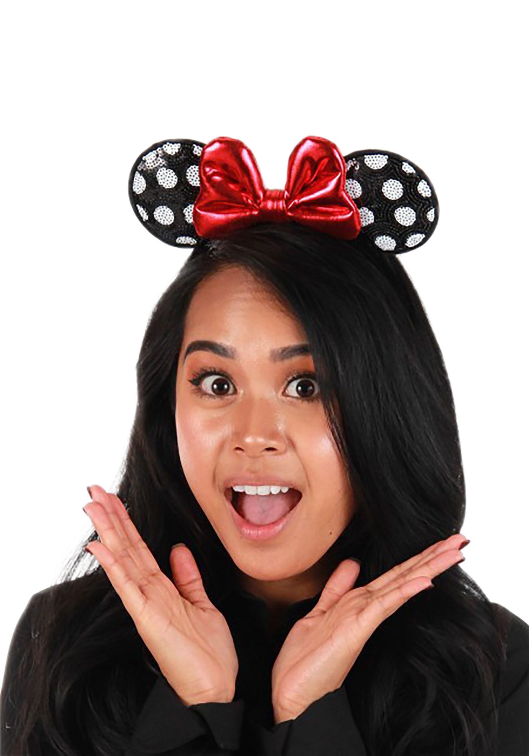 Minnie Mouse Polka Dot Sequined Ears Headband Accessory