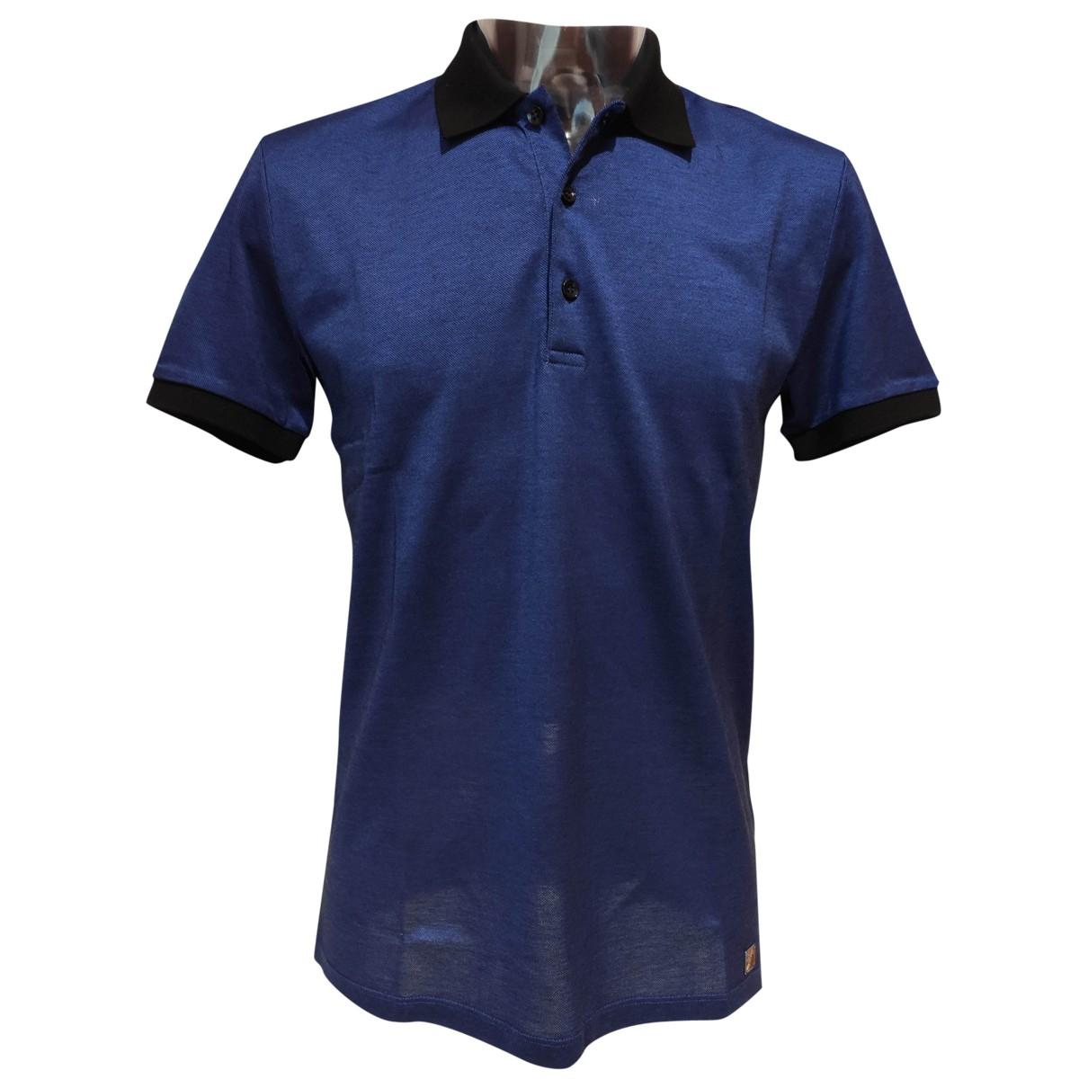 Versace - Polos   pour homme en coton - bleu