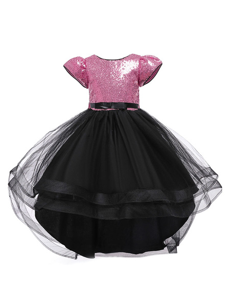 Milanoo Flower Girl Dresses Jewel Neck Tulle Short Sleeves Knee-Length Silhouette Bows Kids Party Princess Dresses