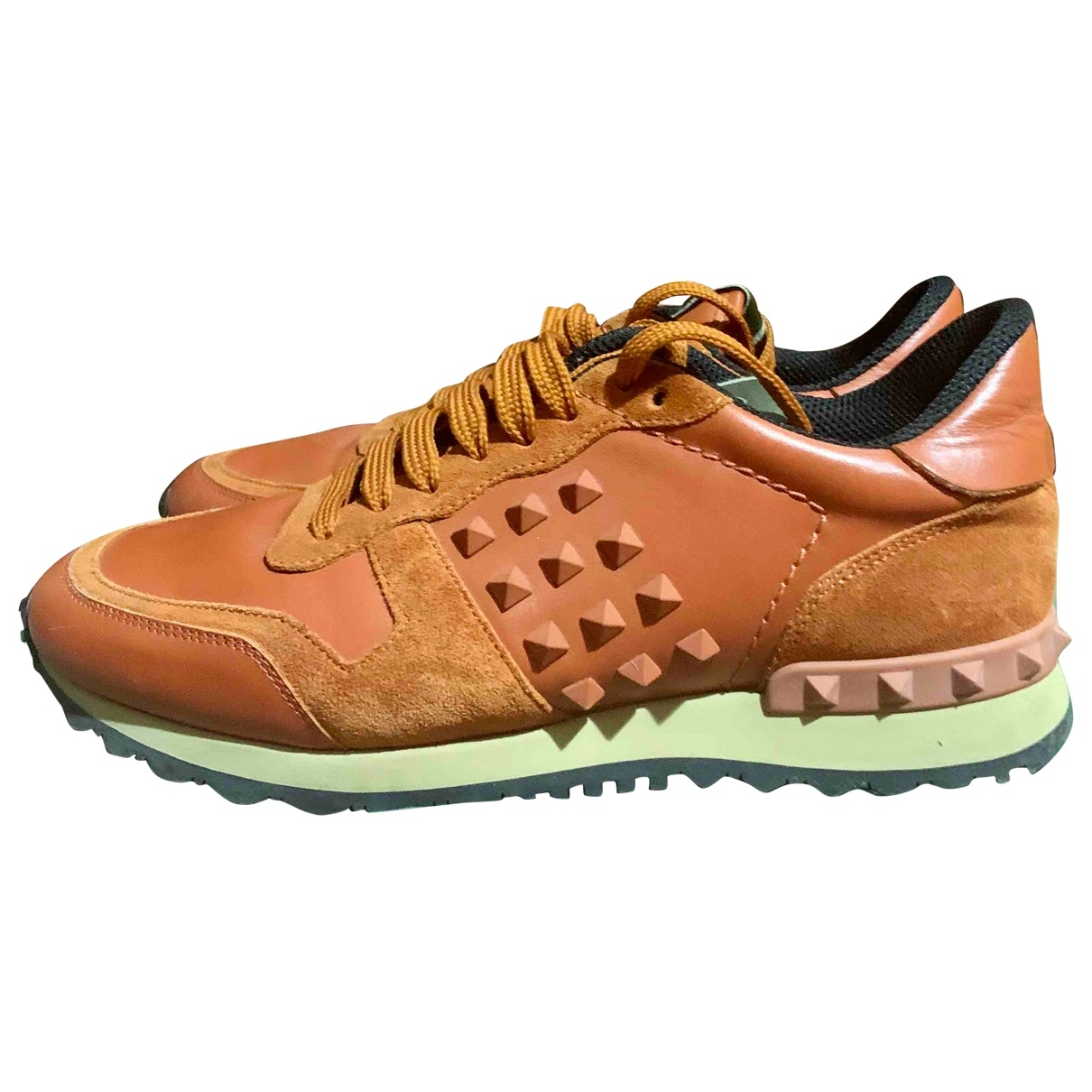 Valentino Garavani Rockrunner Orange Leather Trainers for Men 39 EU