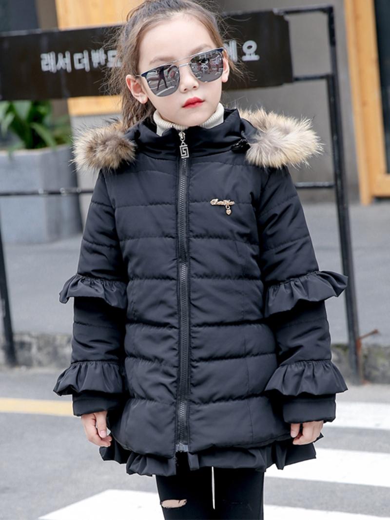 Ericdress Plain Falbala Zipper Girl's Mid-Length Down Jacket