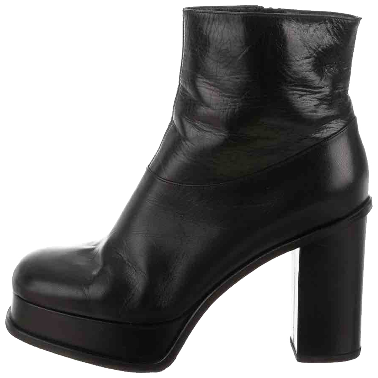 Celine \N Black Leather Ankle boots for Women 37.5 EU