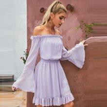 D&M schulterfreies Chiffon Kleid mit Raffung auf Taille