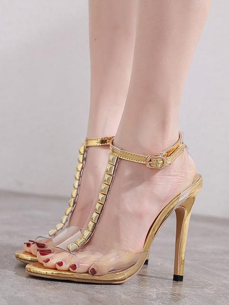 Milanoo Sandalias transparentes con barra en T Tacon de aguja Perspex Peep Toe Tacones altos plateados Zapatos de mujer