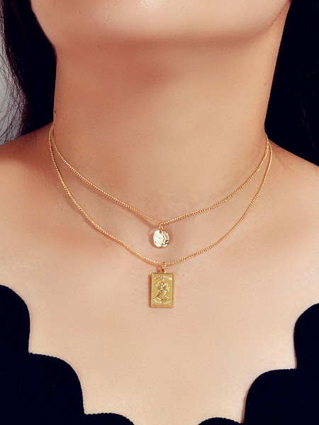 Milanoo Gold Chain Necklaces Layered Embossed Coin Pendant Necklace