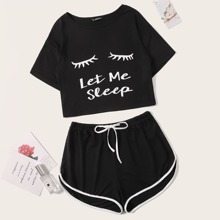 Slogan & Figure Graphic Top & Dolphin Shorts PJ Set