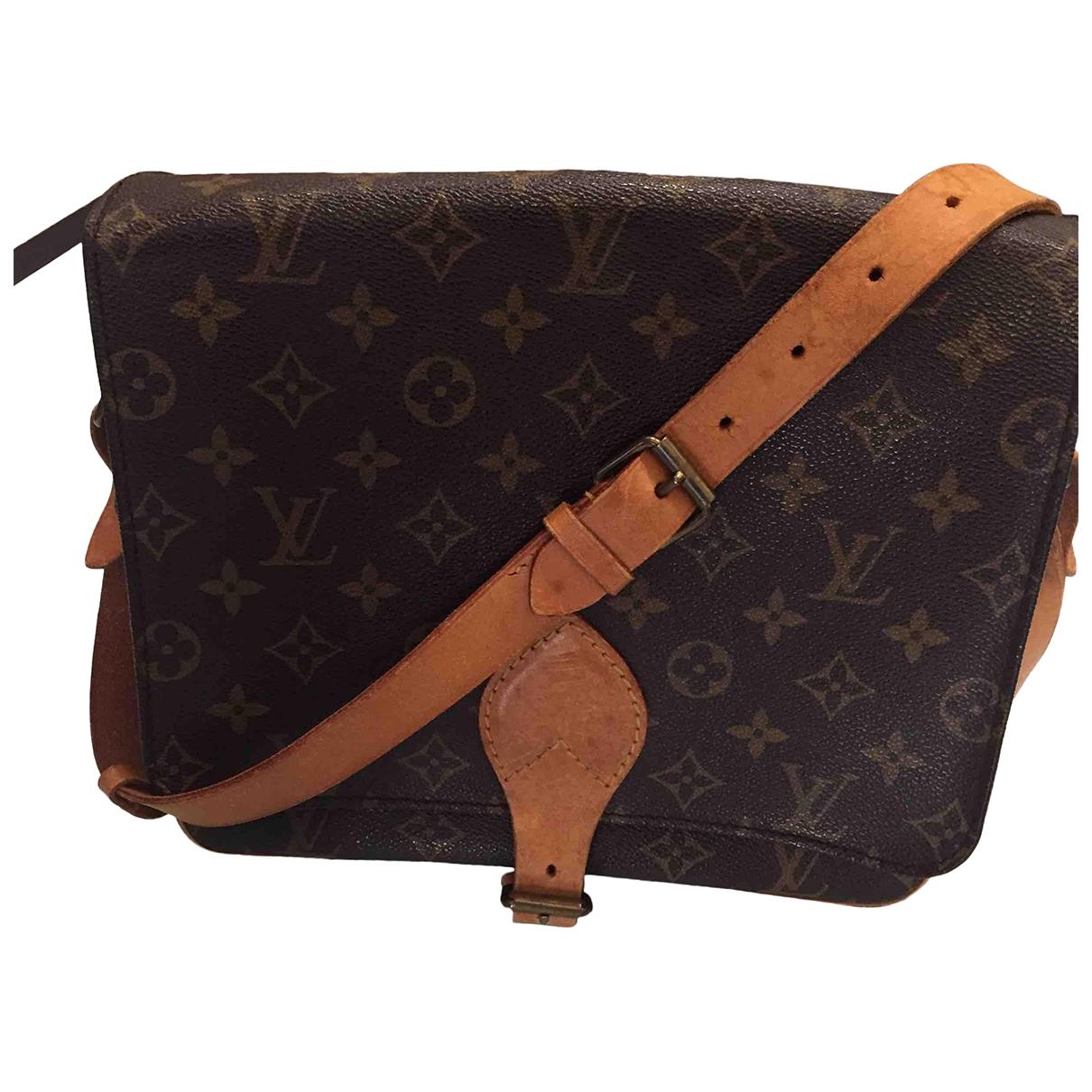 Louis Vuitton Cartouchiere Handtasche in  Braun Leinen