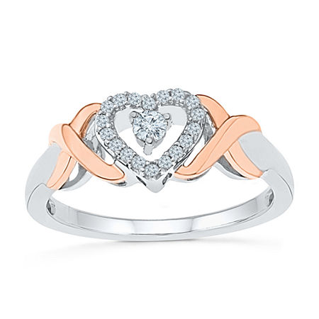 Promise My Love Womens 1/6 CT. T.W. Genuine White Diamond 10K Gold Over Silver Heart Promise Ring, 4 , No Color Family