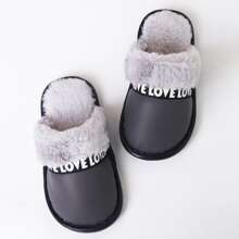 Boys Letter Graphic Fur Lined Slippers