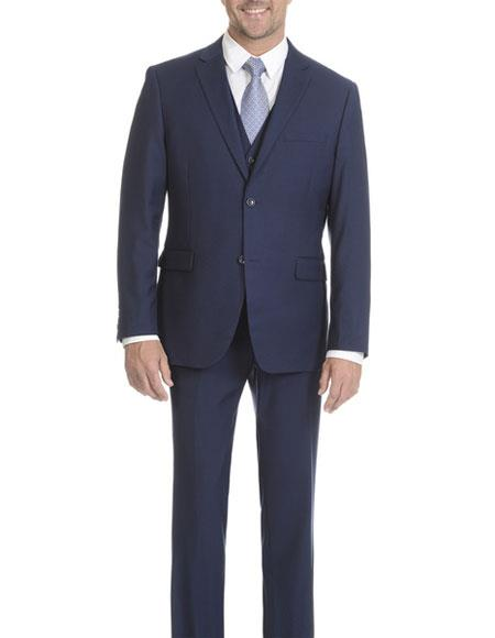 Caravelli Men's Modern Fit Blue Vested 2 Button Single Breasted Suit