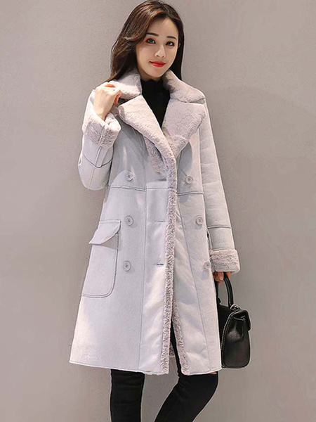 Milanoo Woman\s Outerwear Turndown Collar Buttons Casual Pink Wrap Coat