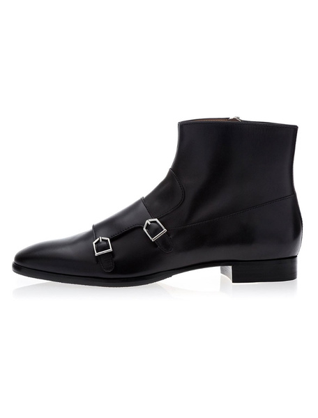 Milanoo Black Ankle Boots Men Cowhide Round Toe Buckle Detail Boots