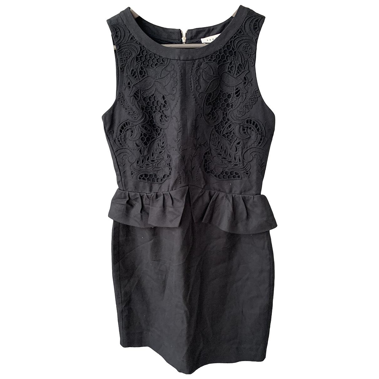 Sandro - Robe   pour femme en lin - noir