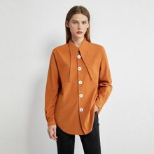AMII Curved Hem Buttoned Blouse