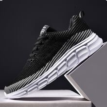 Men Lace Up Front Knit Sneakers